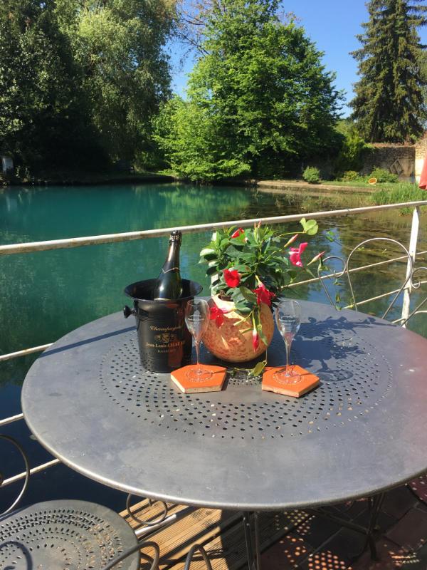 Coupe de champagne Jean-Louis Chaure devant le bassin deLa Pierre ecrite chambre d'hote de l'aube